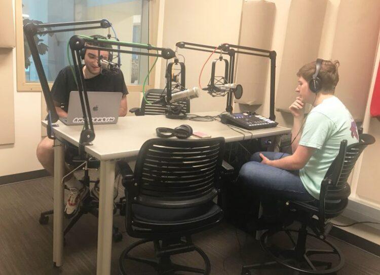 Zeke Shapiro, a freshman media major, records his WIUX podcast,